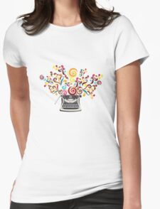 Creativity - typewriter with abstract swirls Womens Fitted T-Shirt