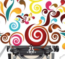 Creativity - typewriter with abstract swirls Sticker