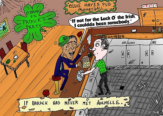 Irish Obama caricature after St. Patrick's Day party by Binary-Options