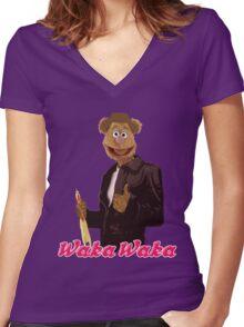 Fonzie Bear Waka Waka Women's Fitted V-Neck T-Shirt