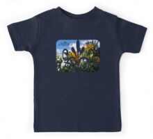 clouds behind yellow flowers Kids Tee