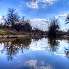 Clouds Reflecting in Bosque County Frog Pond by Terence Russell