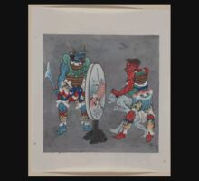 Two mythological Buddhist or Hindu figures one holding a captive and showing him an image in a magic mirror of a man falling off a boat during a fight 001 Baby Tee