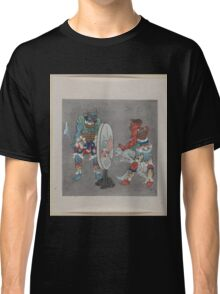 Two mythological Buddhist or Hindu figures one holding a captive and showing him an image in a magic mirror of a man falling off a boat during a fight 001 Classic T-Shirt
