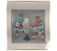 Two mythological Buddhist or Hindu figures one holding a captive and showing him an image in a magic mirror of a man falling off a boat during a fight 001 Poster