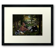 The Luncheon on the Grass with dinosaurs Framed Print