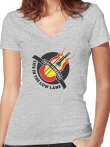 BASS TROMBONE BLACK PRINT Women's Fitted V-Neck T-Shirt