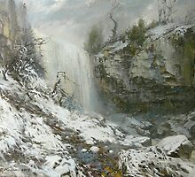 Websters Falls in winter. Oil. Canvas. by Guennadi Kalinine