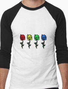 Four Rose Row [Rainbow] Men's Baseball ¾ T-Shirt