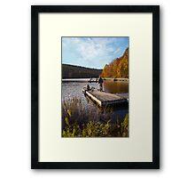 Sittin on the dock of the... lake Framed Print