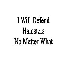 I Will Defend Hamsters No Matter What Photographic Print