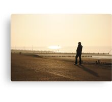 Man Admiring the Sea View in the Sunset Canvas Print