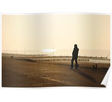 Man Admiring the Sea View in the Sunset Poster