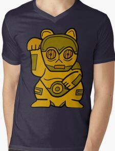 LUCKY CAT-3PO Mens V-Neck T-Shirt