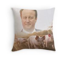 David Cameron/Pig Field Throw Pillow
