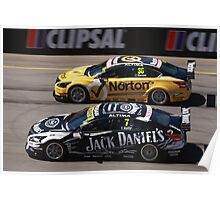 2013 Clipsal 500 Day 4 V8 Supercars - Wheelspin off the line, Caruso & T.Kelly Poster