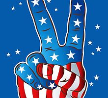 American Patriotic Victory Peace Hand Fingers Sign iPhone Case / iPad Case / T-Shirt by CroDesign