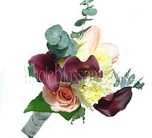 Peach Purple Nosegay Rose Mini Calla Bridesmaids Bouquets by wholeblossoms