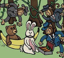 Teddy Bear And Bunny - Monkey Business by Brett Gilbert