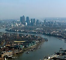 Aerial view looking down theThames towards Canary Wharf by John Gaffen