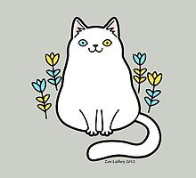 White Odd Eyed Cat with Flowers by zoel