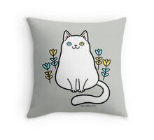 White Odd Eyed Cat with Flowers Throw Pillow
