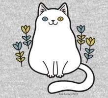 White Odd Eyed Cat with Flowers One Piece - Short Sleeve