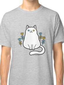 White Odd Eyed Cat with Flowers Classic T-Shirt
