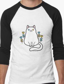 White Odd Eyed Cat with Flowers Men's Baseball ¾ T-Shirt