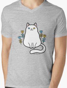 White Odd Eyed Cat with Flowers Mens V-Neck T-Shirt