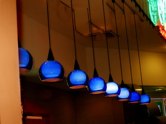 Blue Globe Lamps At The Thai Food Court by Jane Neill-Hancock
