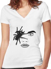 Delevingne Women's Fitted V-Neck T-Shirt
