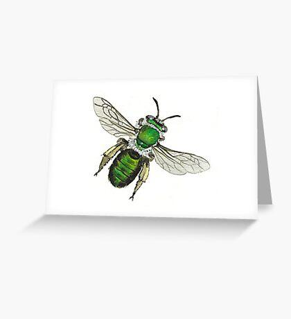 Green Burrowing Bee Greeting Card