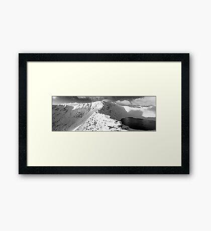 Striding Edge in winter. Framed Print