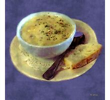A Cup of Chowder, A Crust of Bread Photographic Print