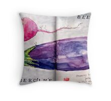 beet and aubergine boldly go Throw Pillow
