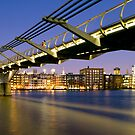 The Millennium Bridge over the River Thames, London. by Justin Foulkes