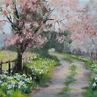 Original Acrylic Landscape Painting - Spring Walk by Karen Ilari