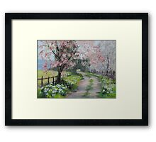 Original Acrylic Landscape Painting - Spring Walk Framed Print