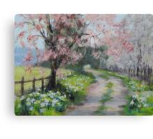 Original Acrylic Landscape Painting - Spring Walk Canvas Print