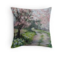 Original Acrylic Landscape Painting - Spring Walk Throw Pillow