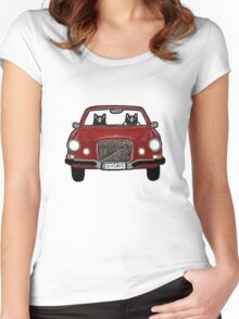 Cats in a Maroon Volvo Women's Fitted Scoop T-Shirt