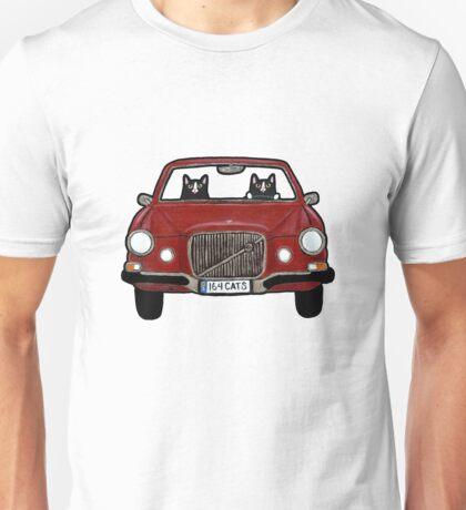 Cats in a Maroon Volvo Unisex T-Shirt