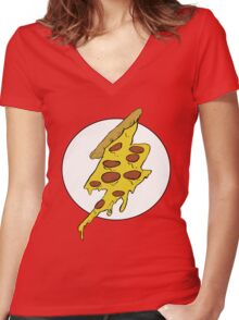 The Flash - Pizza Women's Fitted V-Neck T-Shirt