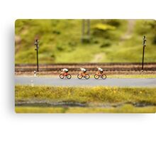 cyclists on the road  Canvas Print