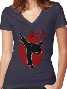 Shaolin Warrior, Kung Fu Women's Fitted V-Neck T-Shirt