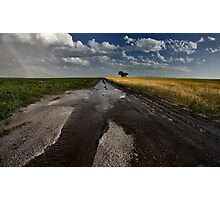 Prairie Road Storm Clouds Saskatchewan Canada field Photographic Print