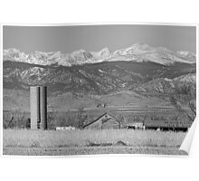 Rocky Mountain Country View Black And White Poster