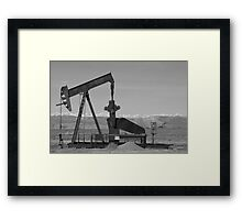 Colorado Rocky Mountain Oil Wells Bw Framed Print