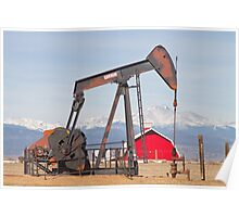 Oil Well Pumpjack Red Barn And Longs Peak Poster
